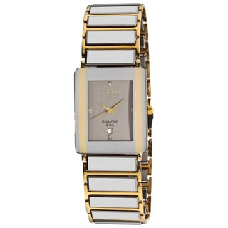 Akribos XXIV Men's Rectangular Ceramic Quartz Silver Gold-Tone Bracelet Watch