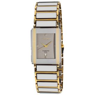 Akribos XXIV Men's Rectangular Ceramic Quartz Silver Gold-Tone Bracelet Watch with FREE GIFT|https://ak1.ostkcdn.com/images/products/6708523/P14259507.jpg?impolicy=medium