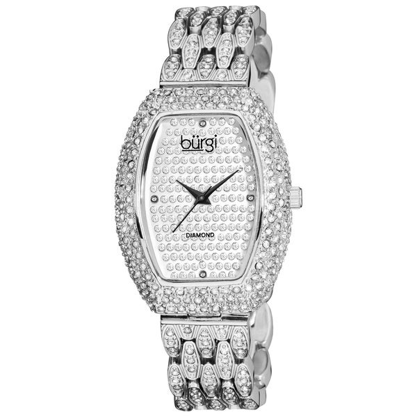 Burgi Women's BU59SS Tonneau Diamond Crystal Quartz Silver-Tone Watch