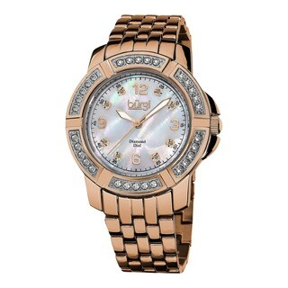 Burgi Women's Stainless Steel Diamond Rose-Tone Bracelet Rose-Tone Bracelet Watch