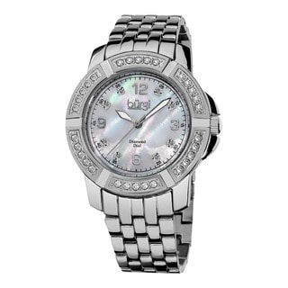 Burgi Women's Diamond Swiss Quartz Stainless Steel Silver-Tone Bracelet Watch