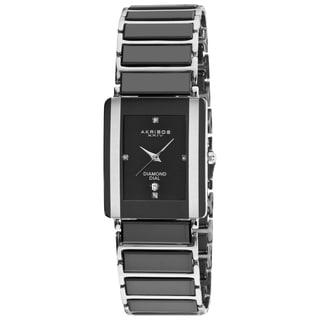 Akribos XXIV Men's Rectangular Ceramic Quartz Black Bracelet Watch with Gift Box