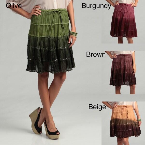 Tokyo Collection Women's Tye Die Cotton Tiered Skirt