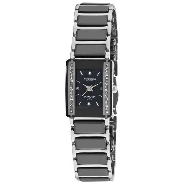 Akribos XXIV Women's Rectangular Ceramic Quartz Black Bracelet Watch