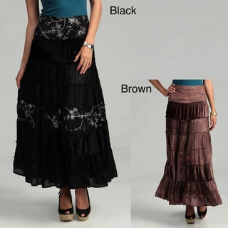Tokyo Collection Women's Long Velvet Skirt with Flower Embroidery