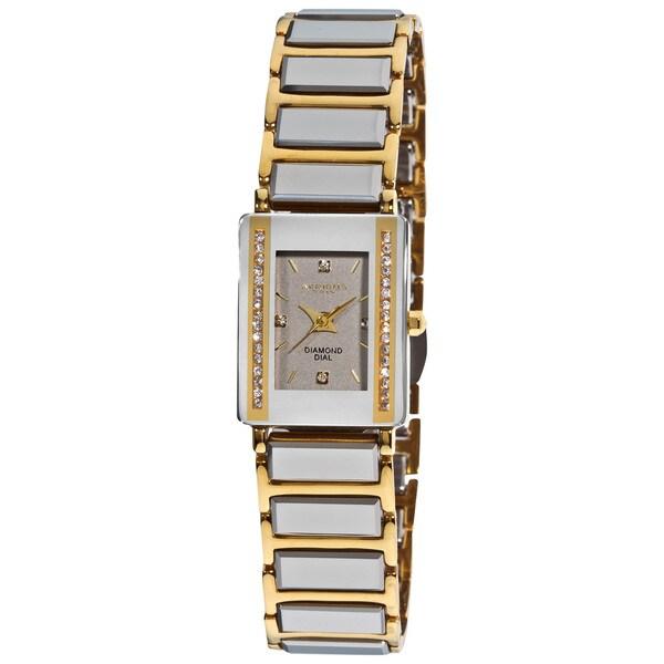 Akribos XXIV Women's Rectangular Ceramic Japanese-quartz Bracelet Watch with FREE Bangle