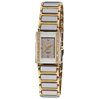 Akribos XXIV Women's Rectangular Ceramic Japanese-quartz Bracelet Watch