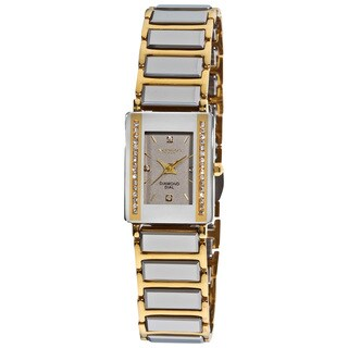 Akribos XXIV Women's Rectangular Ceramic Japanese-quartz Bracelet Watch