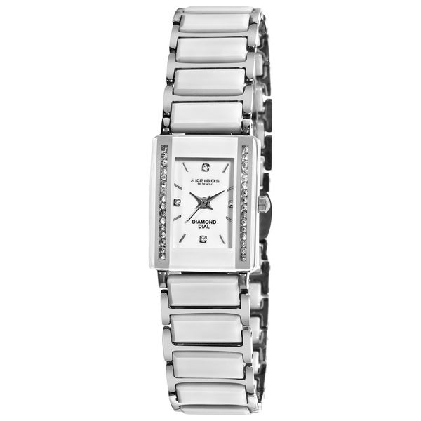 Akribos XXIV Women's Rectangular Ceramic Japanese Quartz Bracelet Watch