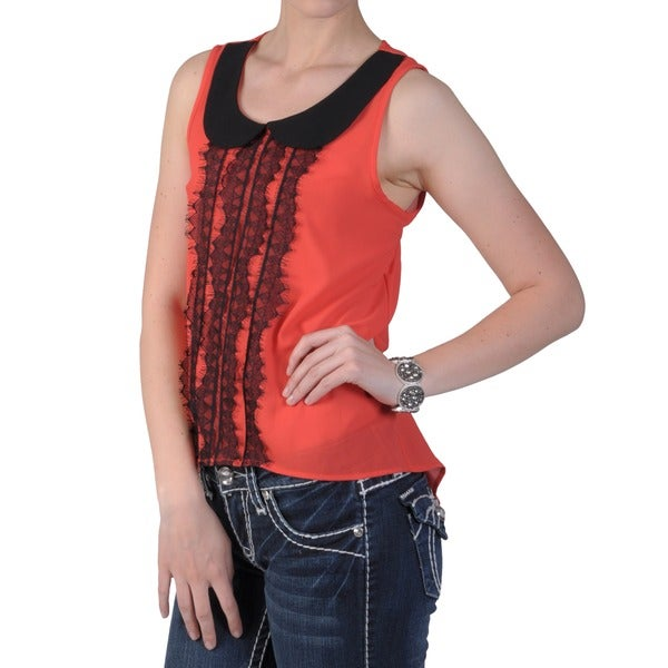 Journee Collection Junior's Lightweight Open Back Lace Detail Top