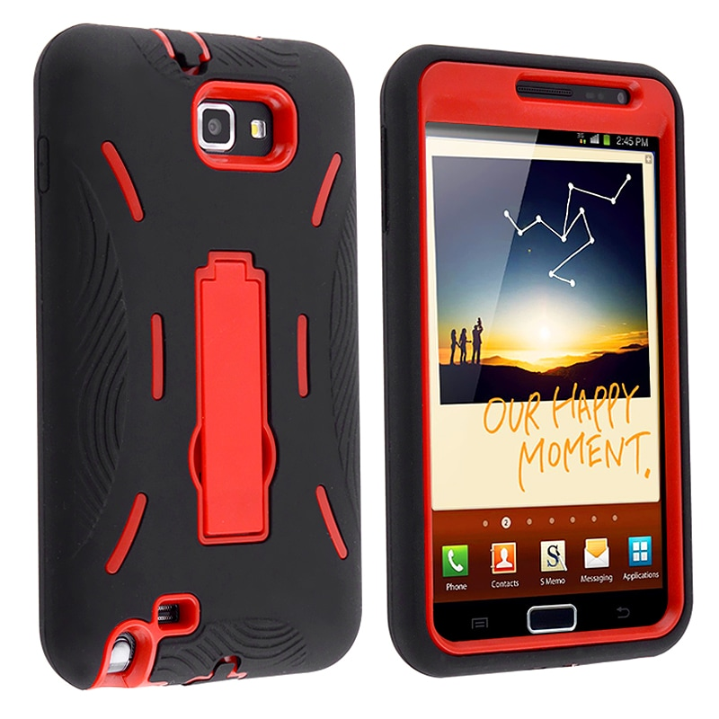 INSTEN Red/ Black Hybrid Phone Case Cover with Stand for Samsung Galaxy Note N7000/ I717