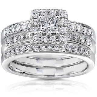 Annello by Kobelli 14k White Gold 3/4ct TDW Diamond Bridal Set (H-I, I1-I2)