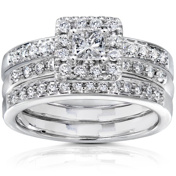 Annello by Kobelli 14k White Gold 3/4ct TDW Diamond Bridal Set (H-I, I1-I2)