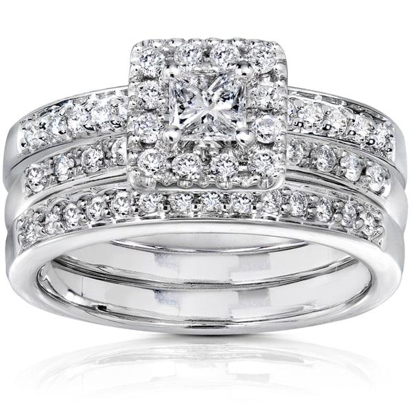 Annello 14k White Gold 3/4ct TDW Diamond Bridal Set (H-I, I1-I2)