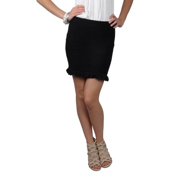 Journee Collection Juniors Textured Ruffled Mini Skirt