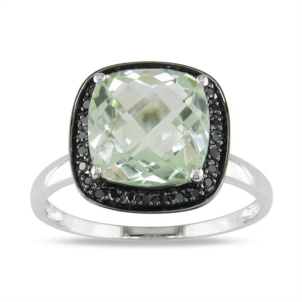 Miadora 14k White Gold 2-1/2ct Green Amethyst and 1/10ct Black Diamond Ring