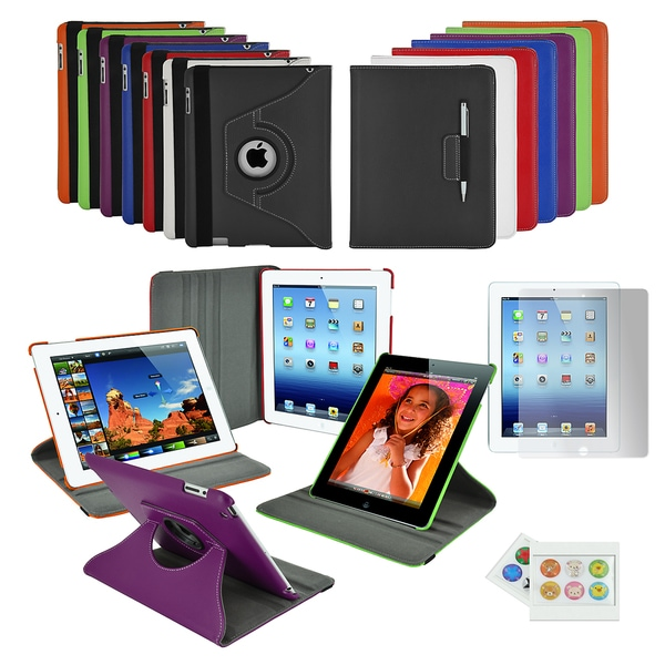 Apple iPad 3 Premium 360-degree Folding Stand Case with accessory kit