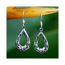 Sterling Silver 'Rainforest Tear' Earrings (Thailand)