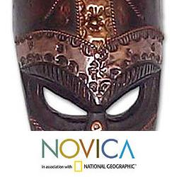 Sese Wood and Brass 'Patience' African Mask (Ghana) - Thumbnail 2