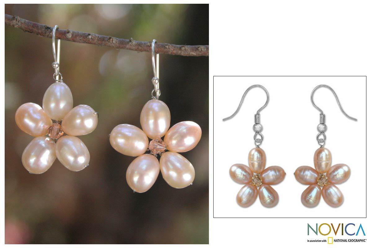 Handmade Stainless Steel X27 Pink Blossom Pearl Earrings 7