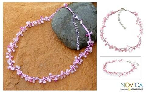 Handmade Rose Quartz 'Radiance' Beaded Necklace (Thailand)