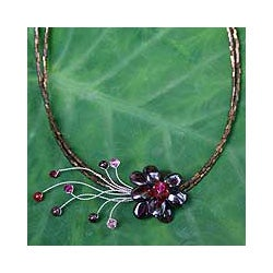 Garnet 'Scarlet Floral Chic' Flower Necklace (Thailand)
