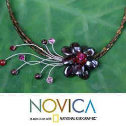 Garnet 'Scarlet Floral Chic' Flower Necklace (Thailand)