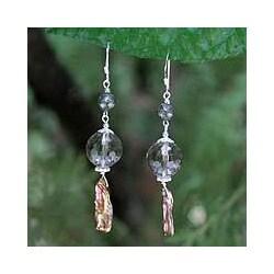 Handmade Sterling Silver 'Love' Multi-gemstone Pearl Earrings (5 mm) (Thailand)