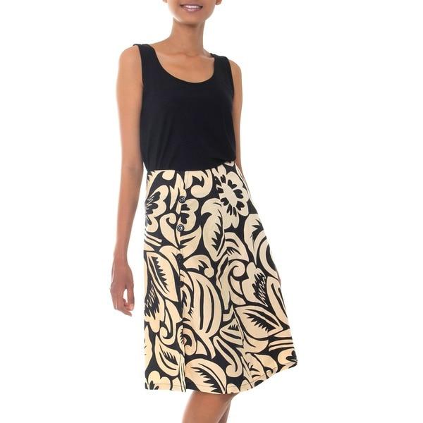 Handmade Cotton 'Balinese Shadow' Batik Wraparound Skirt (Indonesia)