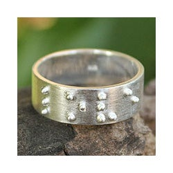 Sterling Silver 'Braille Love' Ring (Thailand)