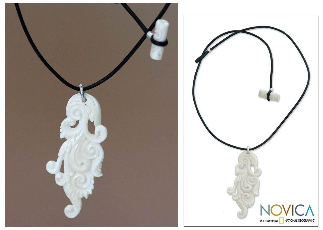 Handmade Bone and Cotton 'Leaf of Faith' Necklace (Indonesia)