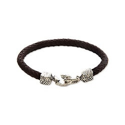 Handmade Men's Sterling Silver 'Rugged Aesthetics' Leather Bracelet (Indonesia)