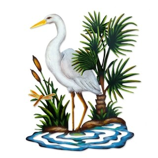 Heron in Chapala Indoor Outdoor Patio Garden Decorator Accent Blue Green Yellow Painted Steel Metal Wall Art Sculpture (Mexico)