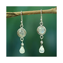 Shimmer Round with Faceted Pear Drops Moonstone Gemstones 925 Sterling Silver Womens Dangle Earrings (India)