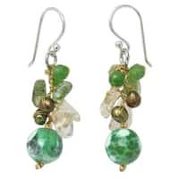 Handmade Sterling Silver 'Joy' Multi-gemstone Pearl Earrings (4 mm) (Thailand)