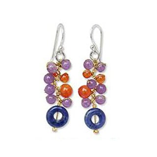 Handmade Multi-gemstone 'Radiant Color' Cluster Earrings (Thailand)