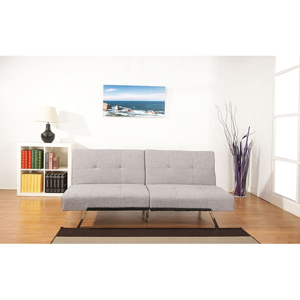 Jacksonville ash premium fabric foldable futon sleeper for Sofa bed overstock