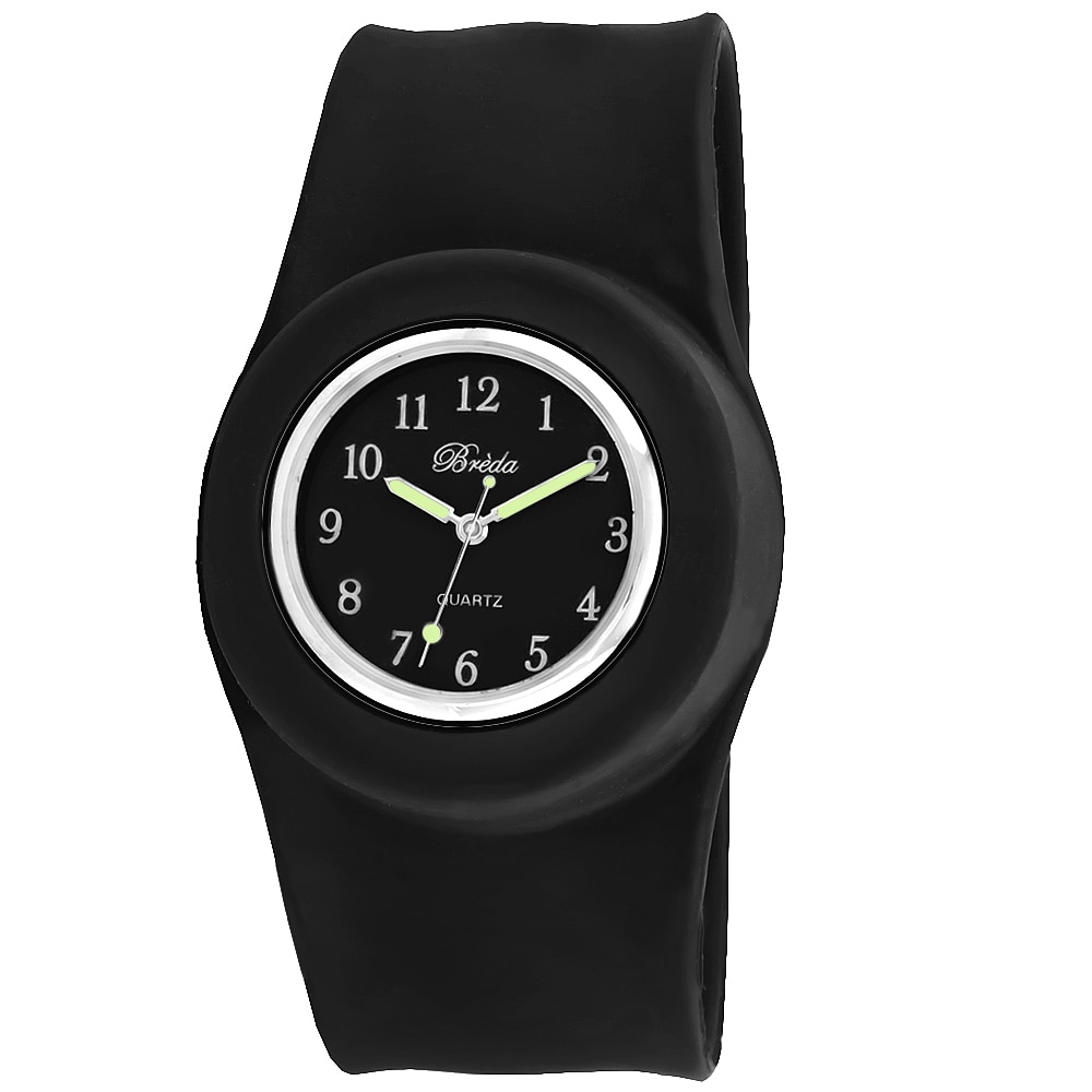 Breda Women's 'Lilly' Slap-on Black Silicone Watch