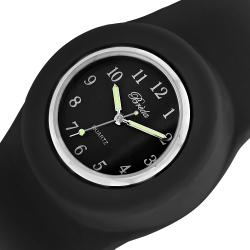 Breda Women's 'Lilly' Slap-on Black Silicone Watch - Thumbnail 1