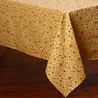 Corona Decor Lemon, Red, and Green Floral Design 50 x 90-inch Italian Heavy Weight Tablecloth