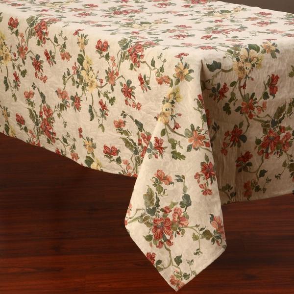 Corona Decor Floral Design 50x90 Inch Italian Heavy Weight Tablecloth