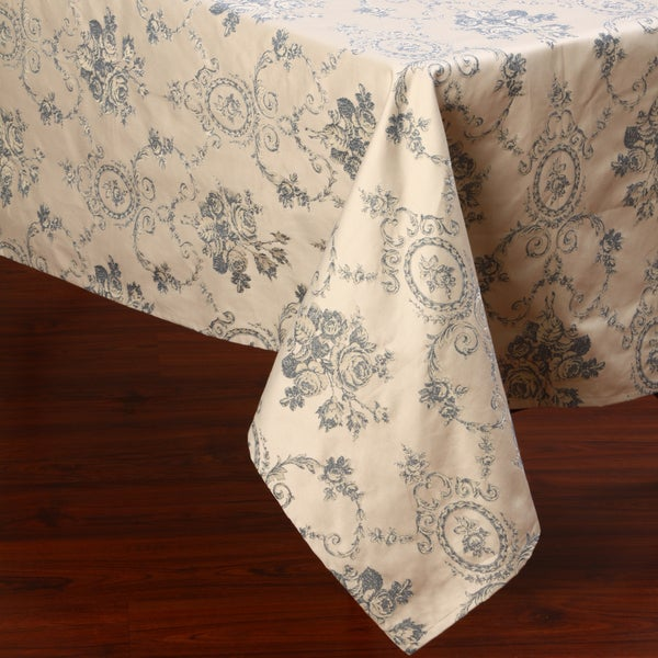 Corona Decor Blue and White Traditional Design 50x90-inch Italian Heavy Weight Tablecloth