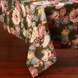 Corona Decor Large Rose Floral Design 50x90-inch Italian Heavy Weight Tablecloth