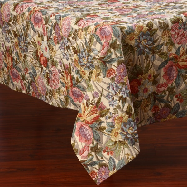 Corona Decor Wildflower Floral Design 50x90-inch Italian Heavy Weight Tablecloth