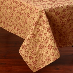 Corona Decor Red and Gold Floral Design 50 x 90-inch Italian Heavy Weight Tablecloth