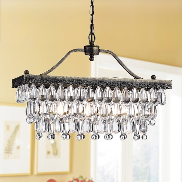 Crystal Glass Drop 3-Light Antique Copper Chandelier