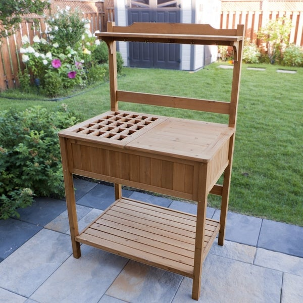 Merry Products Wood Potting Bench With Recessed Storage