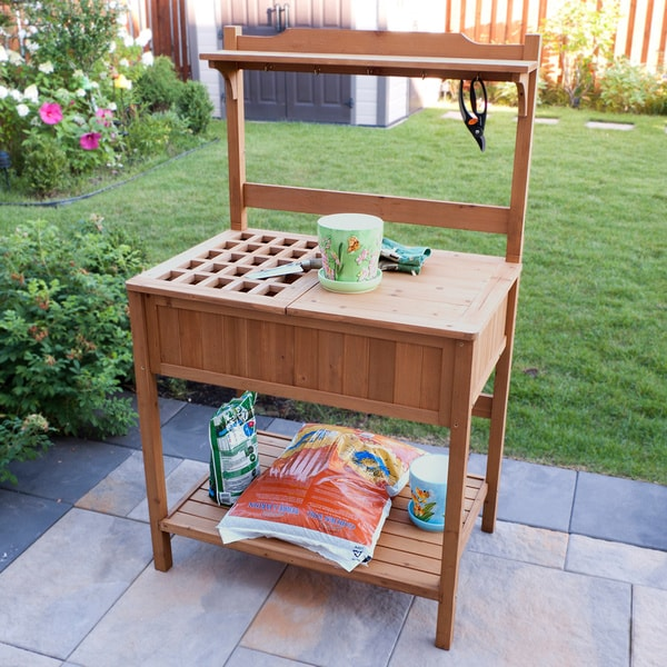 Merry products wood potting bench with recessed storage - Potting table with storage ...