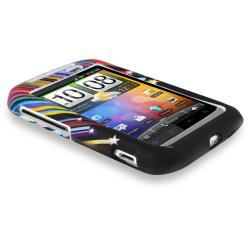 Black/ Rainbow Star Rubber Coated Case for HTC Wildfire S