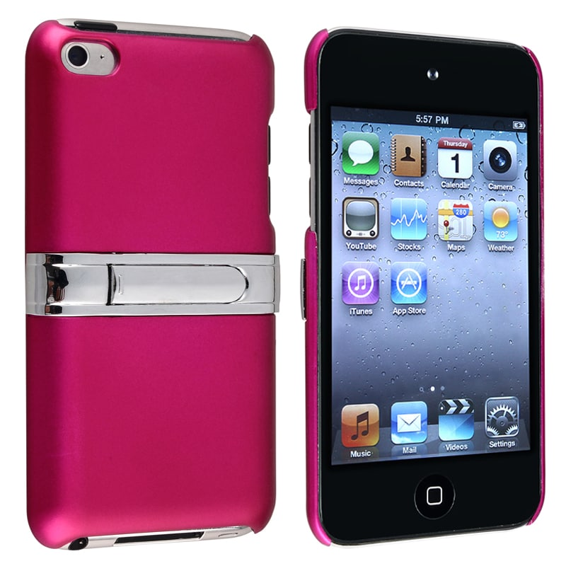 Pink with Chrome Stand Snap-on Case for Apple iPod Touch Generation 4